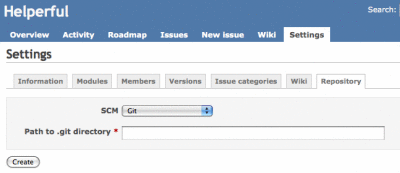redmine settings git