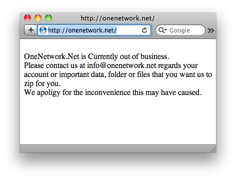 onenetwork is now out of business