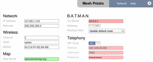 mesh potato web gui management