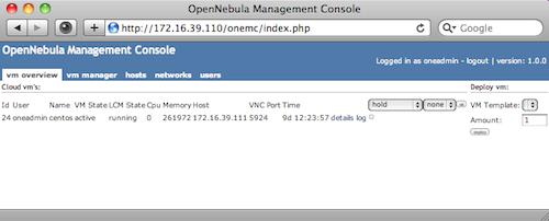 opennebula management console