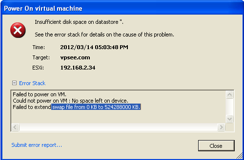 vmware esxi insufficient disk space