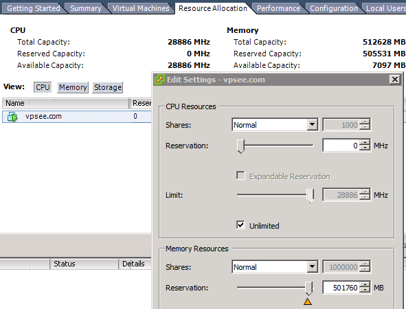vmware esxi memory reservation