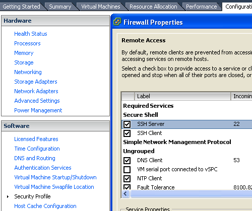 vmware esxi 5.0 enable ssh client