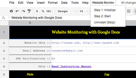 using google docs monitoring website uptime