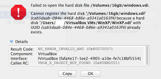 virtualbox cannot register the hard drive